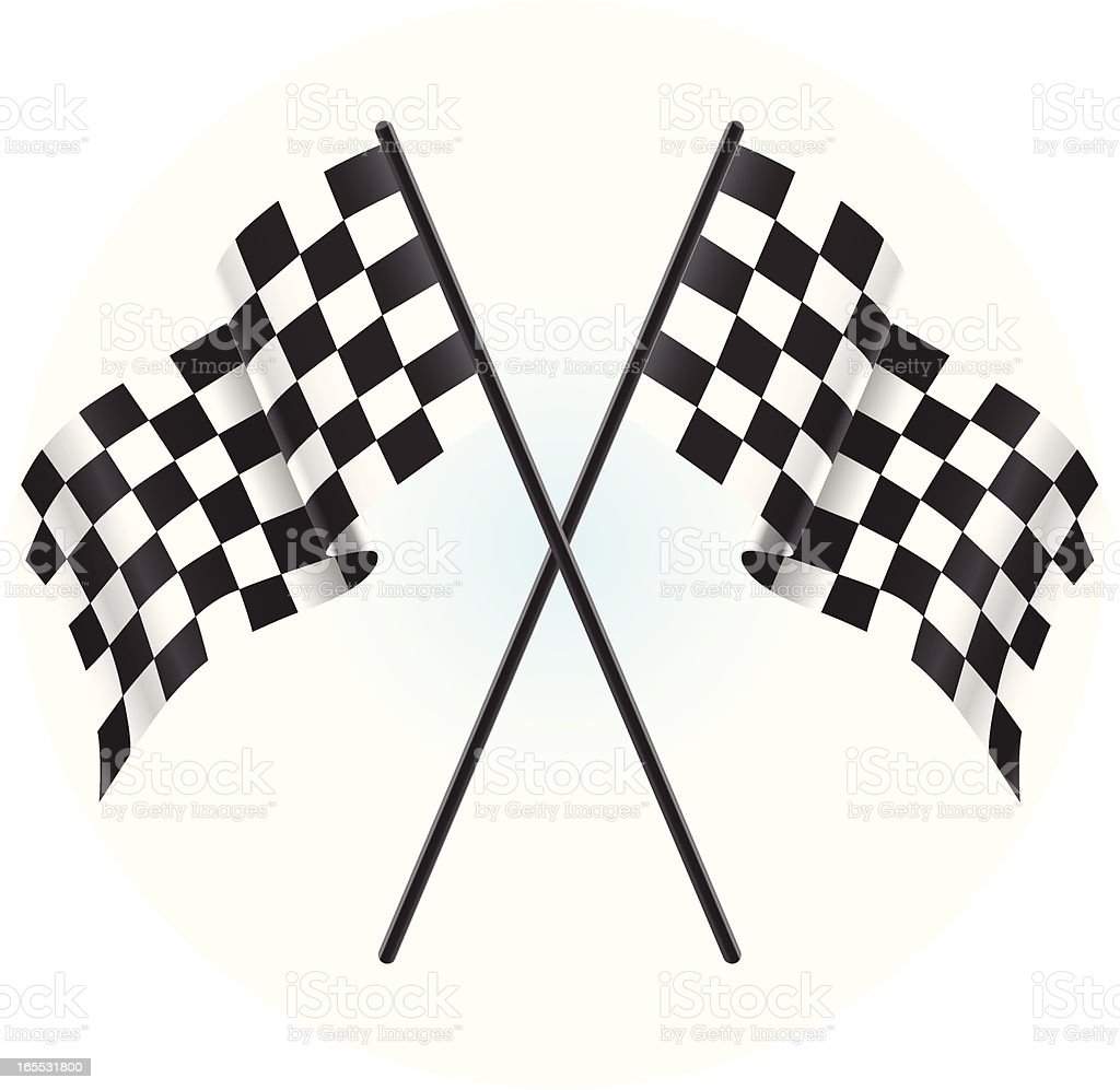 Illustration of two crossed checkered race flags royalty-free stock vector art