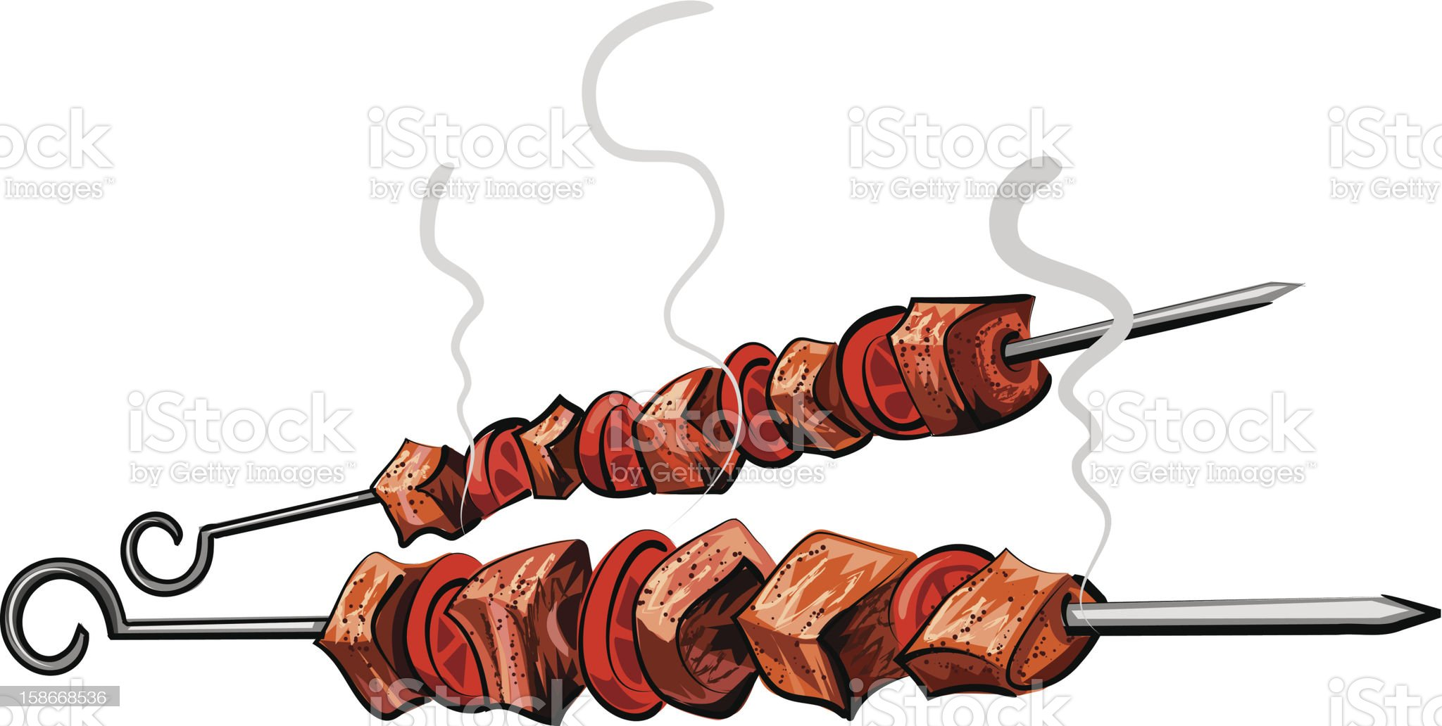Illustration of two grilled meat kebabs isolated on white royalty-free stock vector art