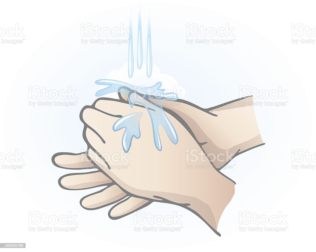 Illustration of two hands washing under a stream of water royalty-free stock vector art