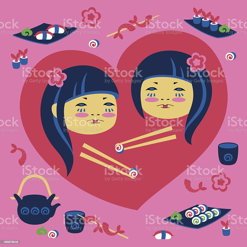 Illustration of two japanese girl vector art illustration