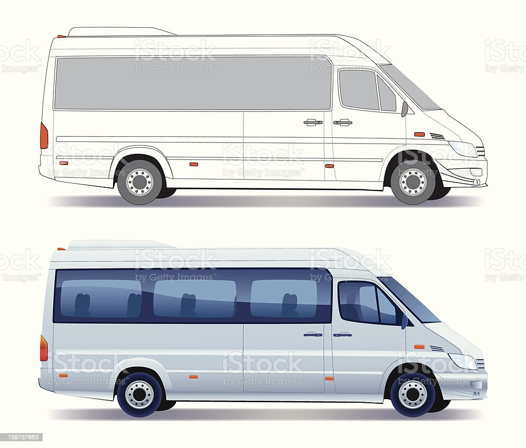 A illustration of two minibuses vector art illustration