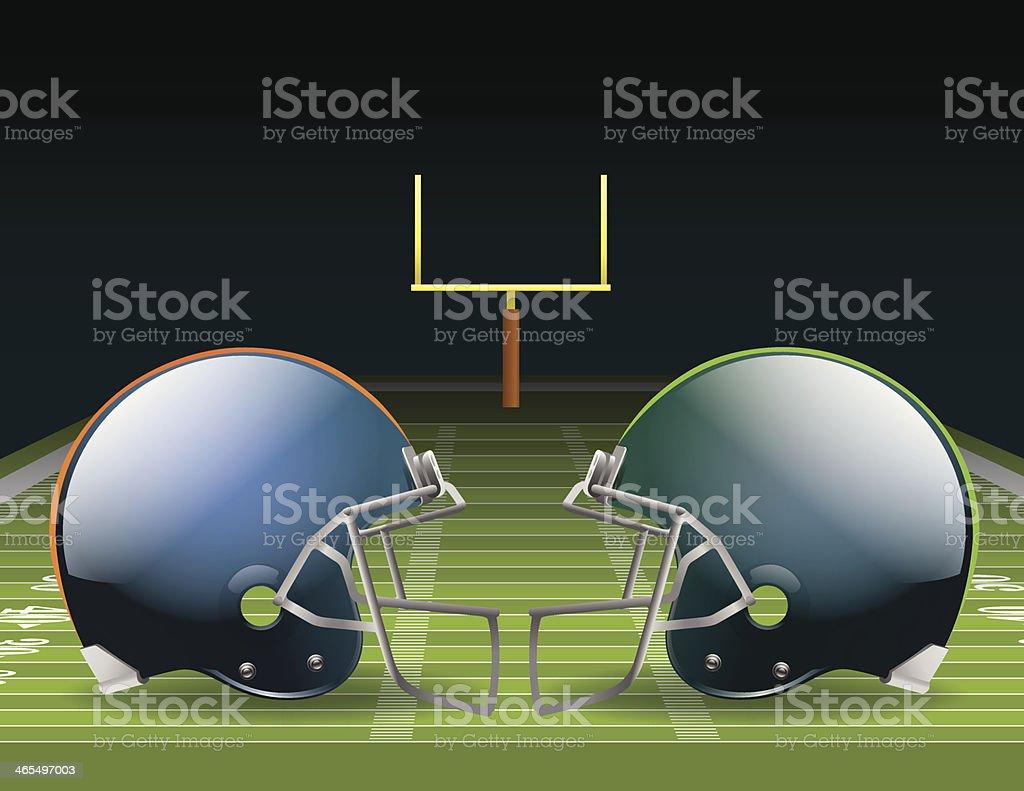 Illustration of two opposing helmets on a football field vector art illustration