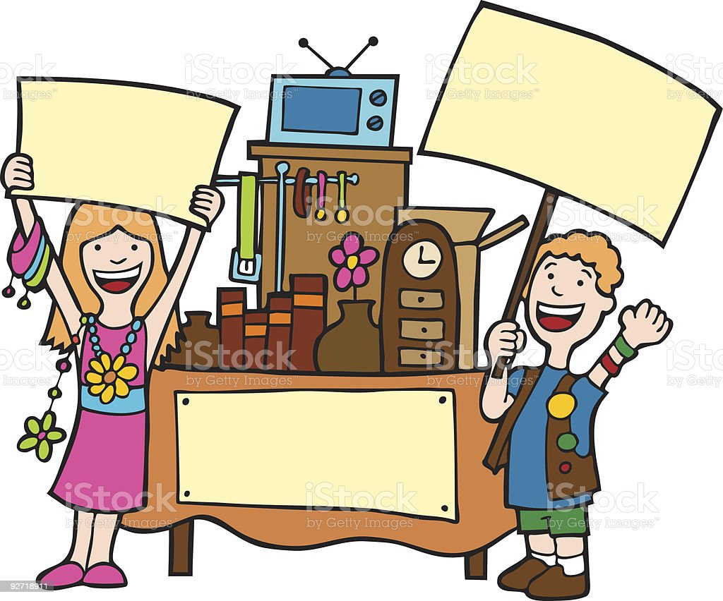 Illustration of two people holding blank signs selling stuff royalty-free stock vector art