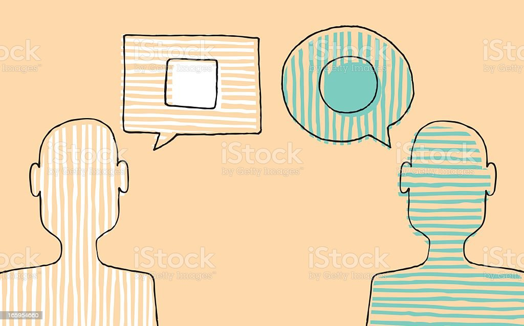 Illustration of two people with different opinions vector art illustration