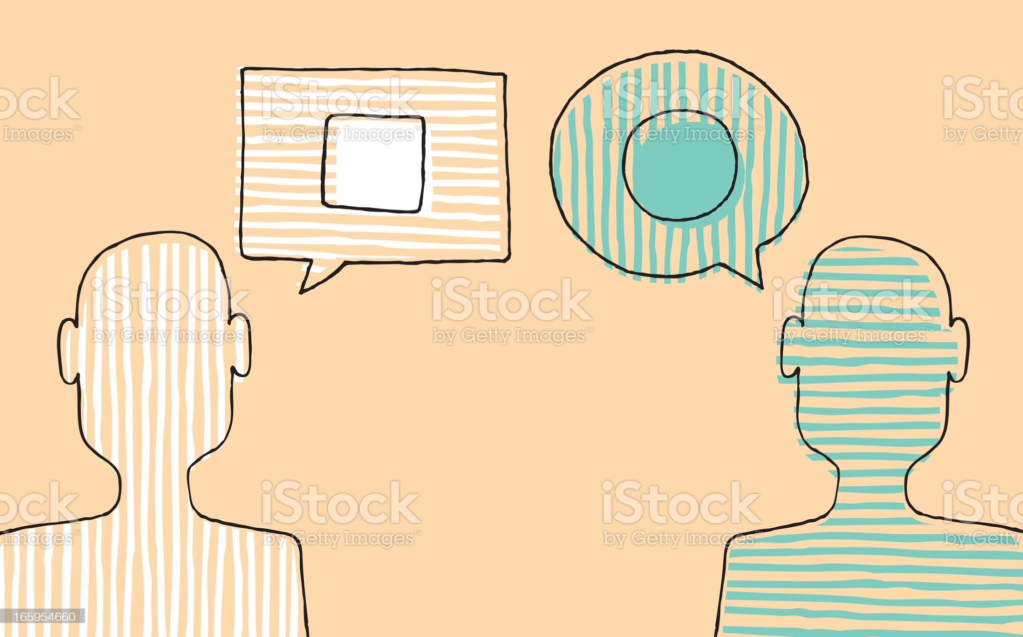 Illustration of two people with different opinions royalty-free stock vector art