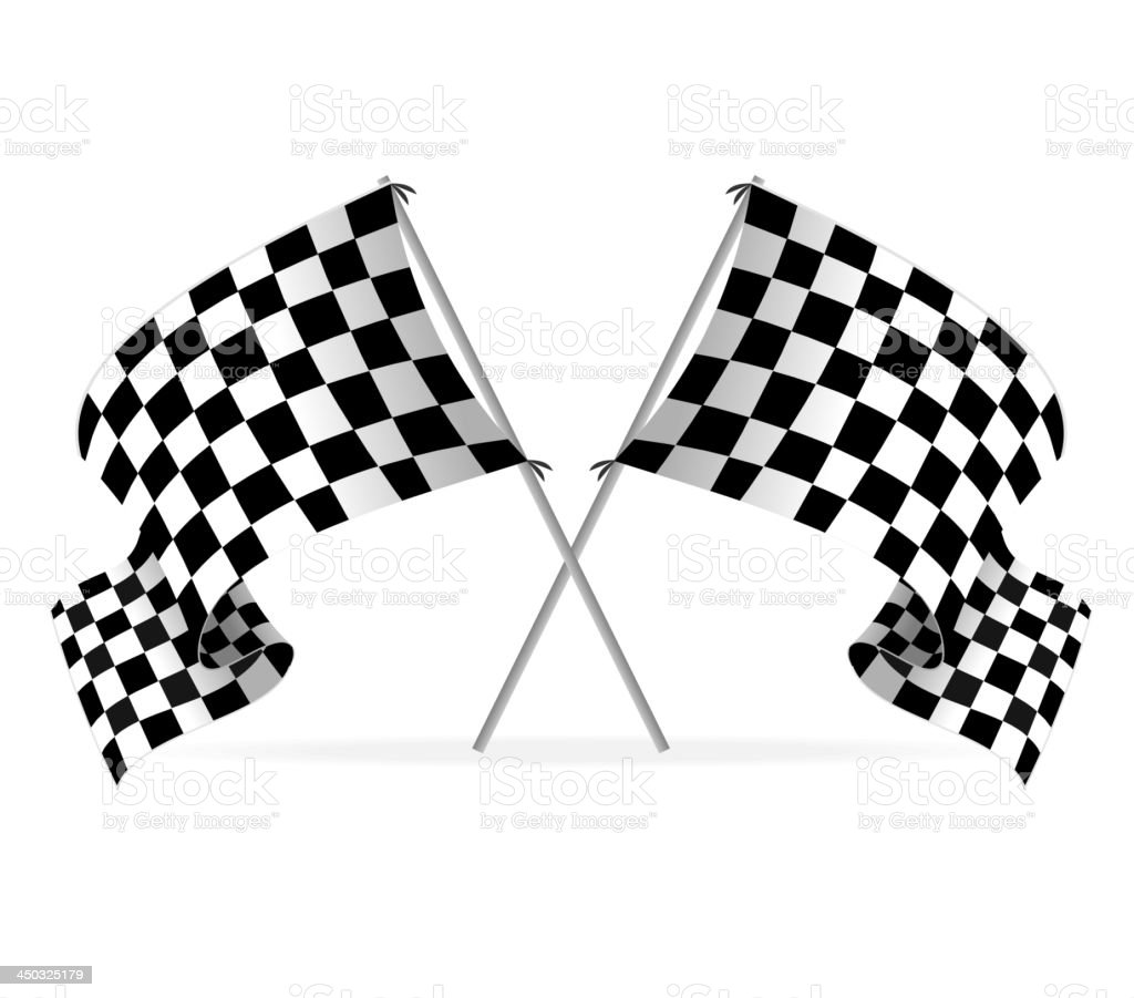 Illustration of two racing flags crossed over white vector art illustration