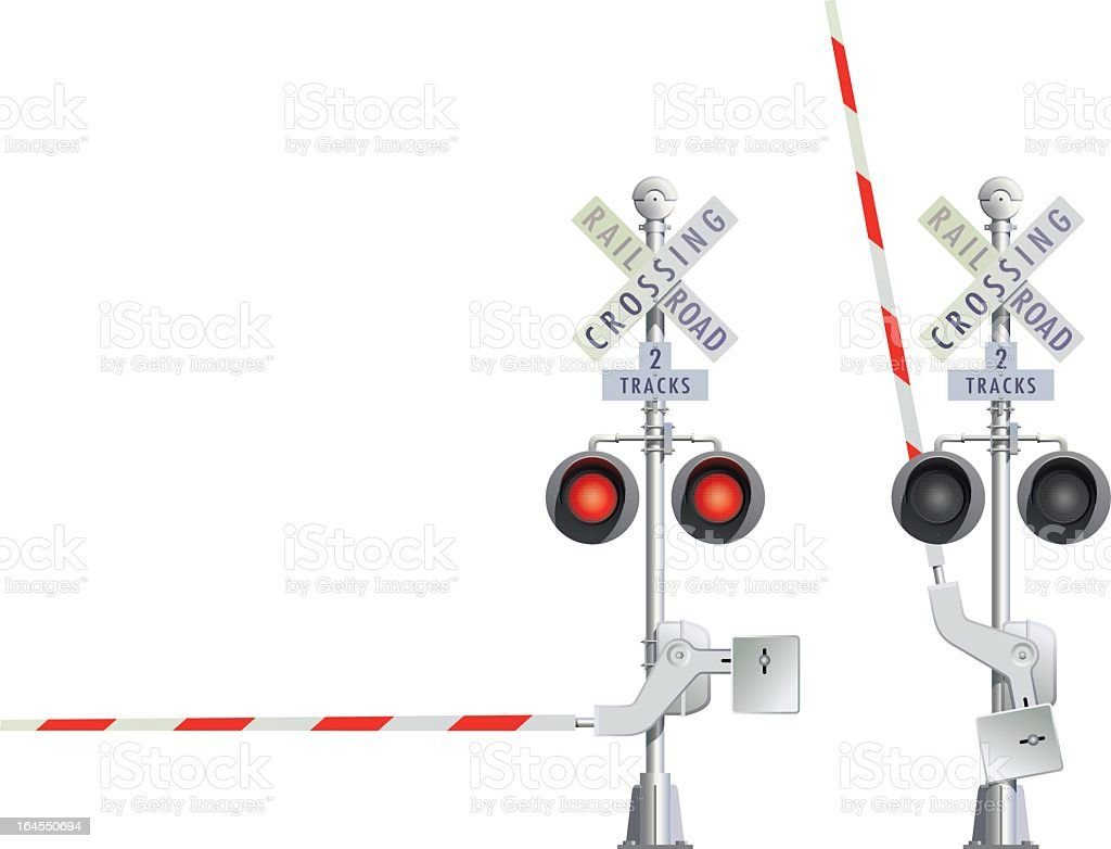 Illustration of two railroad crossing signs in red and white royalty-free stock vector art
