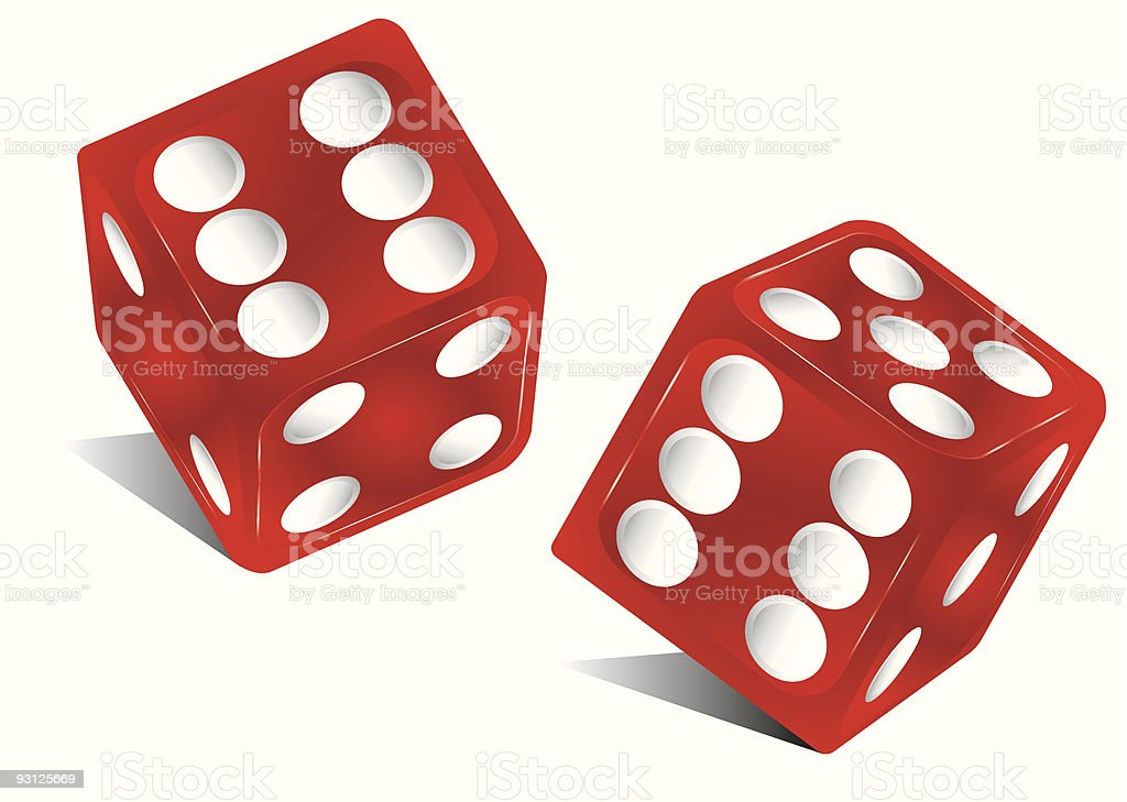 Illustration of two red dice against white background royalty-free stock vector art
