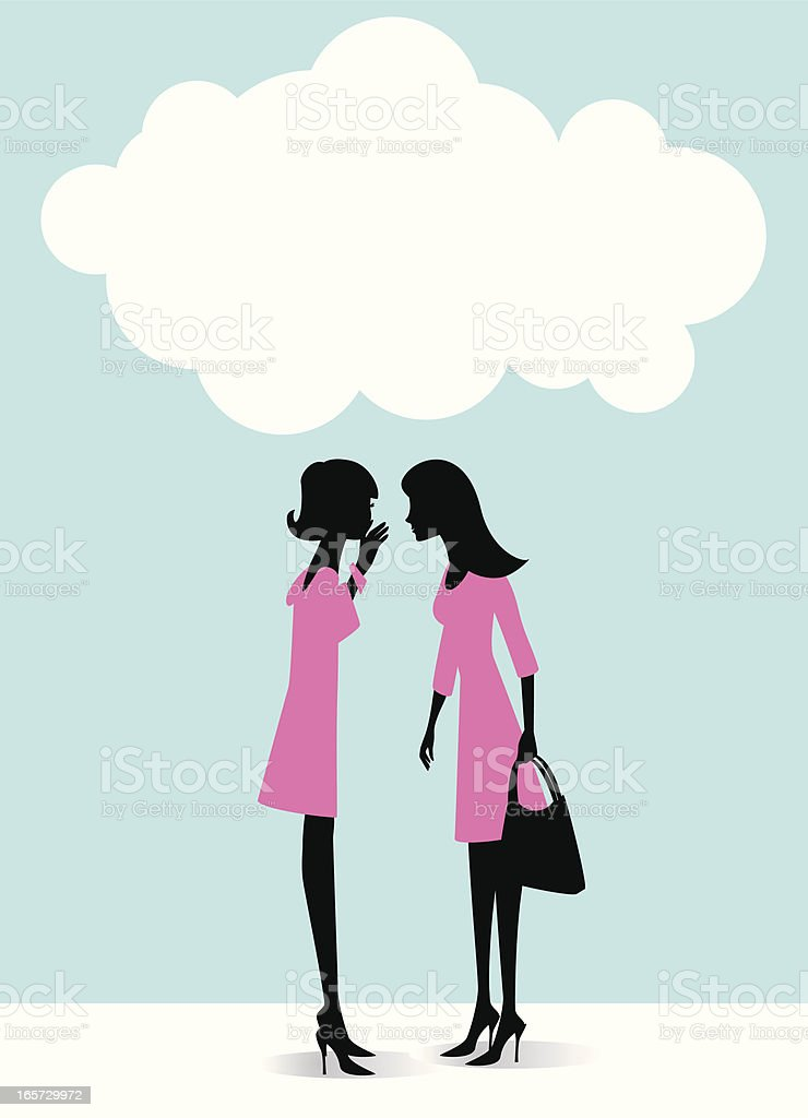 Illustration of two women in pink dresses gossiping vector art illustration