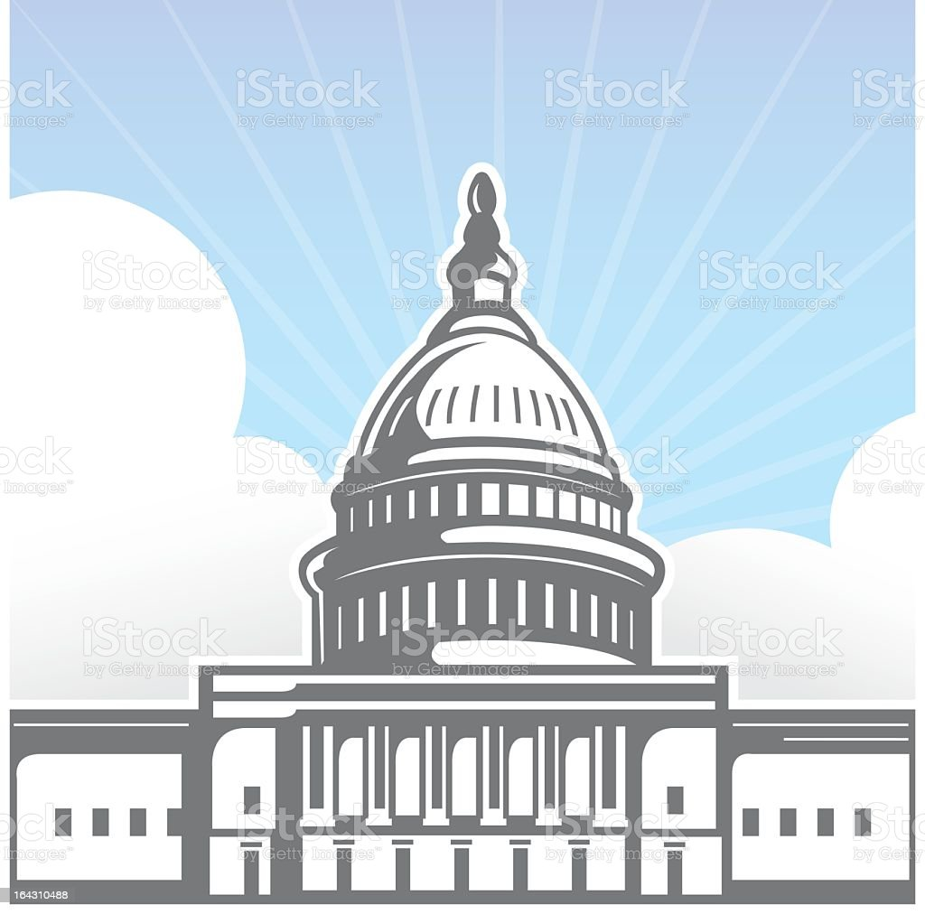 Illustration of U S Capitol building in light color sketch vector art illustration