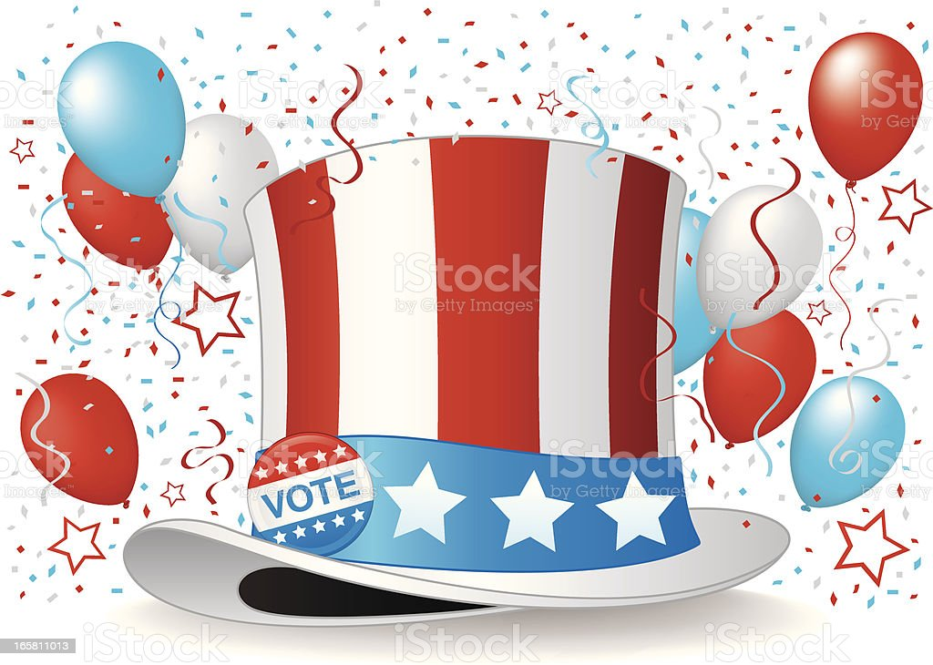Illustration of Uncle Sam Hat Among Balloons and Confetti royalty-free stock vector art