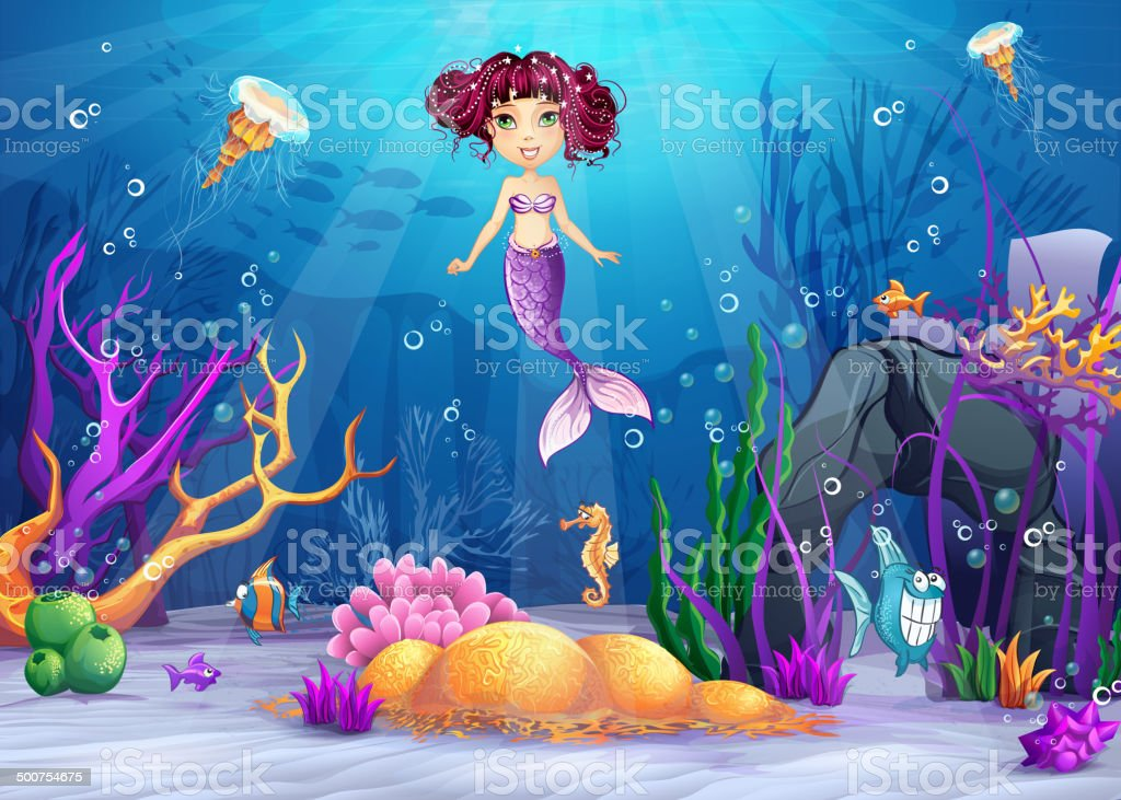 Illustration of underwater world with a mermaid with pink hair vector art illustration