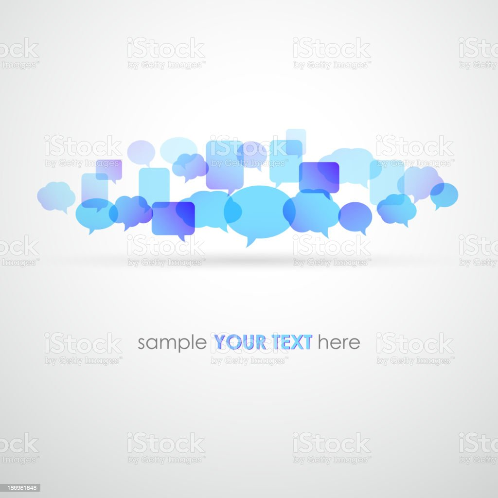 Illustration of variety of speech bubbles with room for text vector art illustration