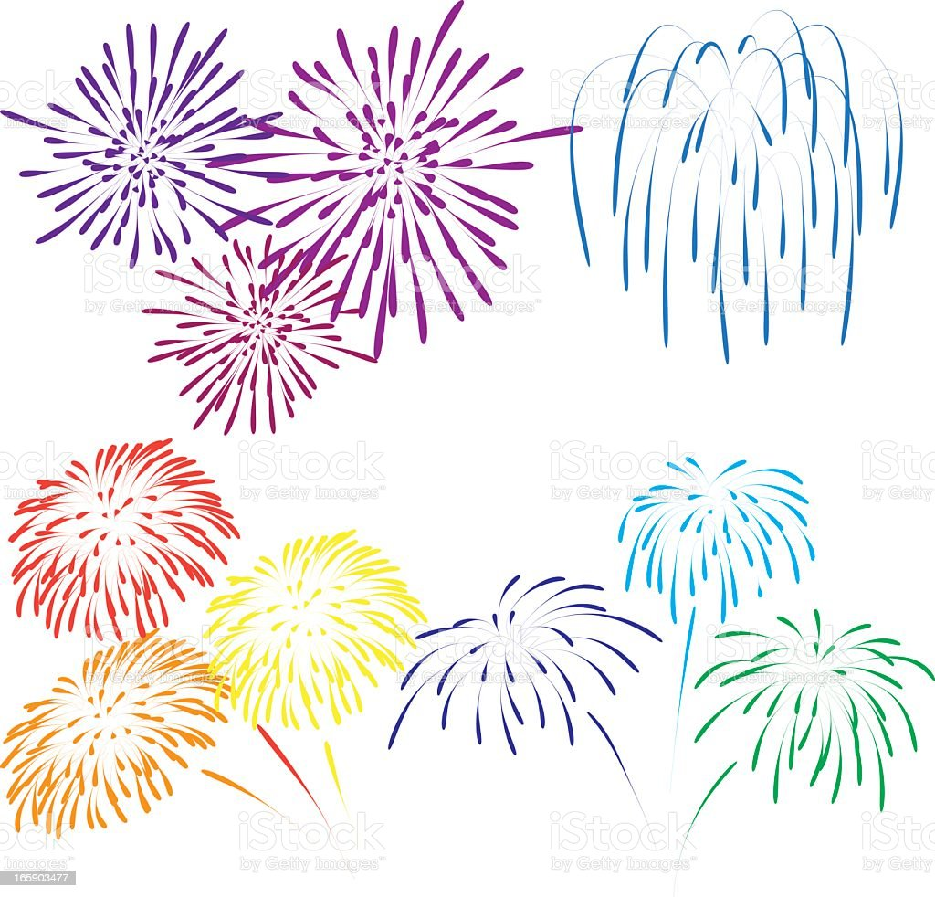 Illustration of various color fireworks vector art illustration
