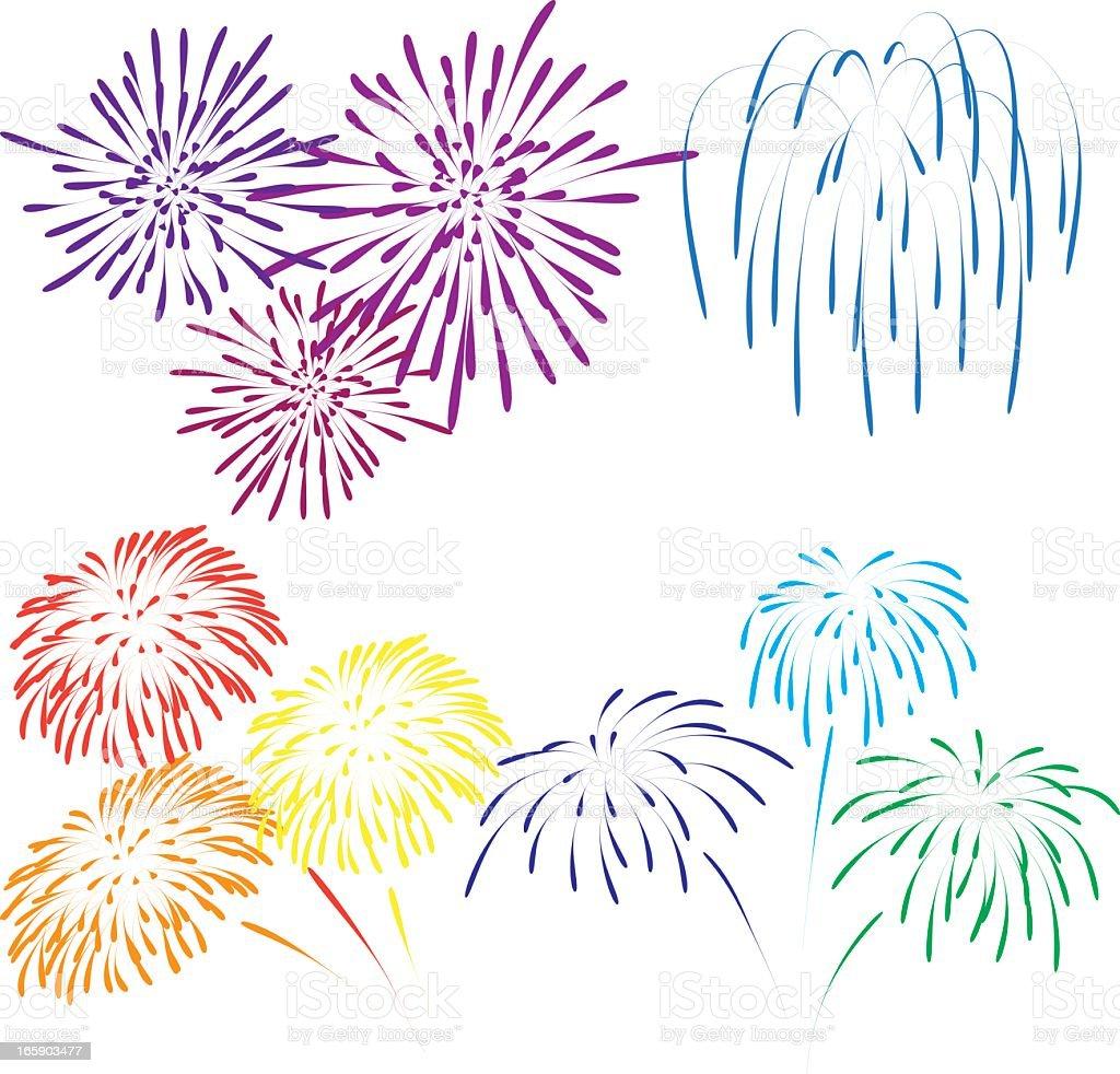 Illustration of various color fireworks vector art illustration