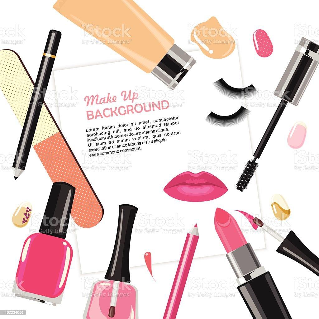 Illustration of various make up cosmetics vector art illustration