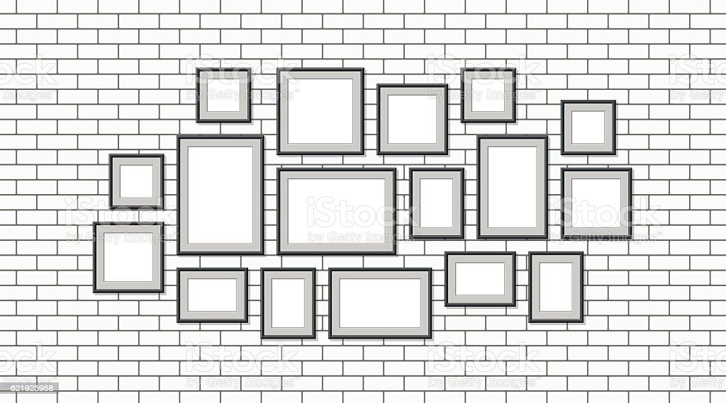 Illustration of various pictures with black frame vector art illustration