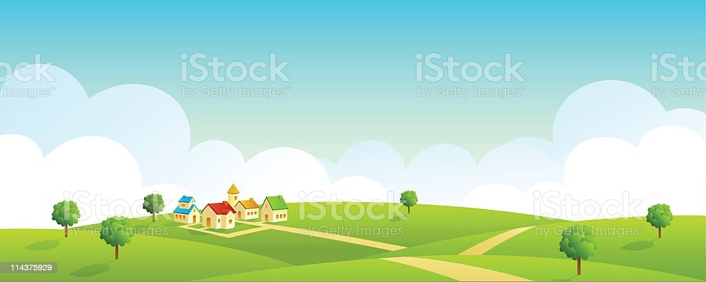 Illustration of vast land landscape royalty-free stock vector art