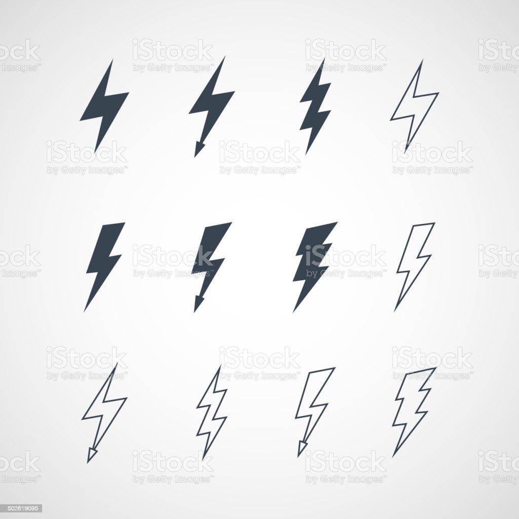 Illustration of vector lightning icon set vector art illustration