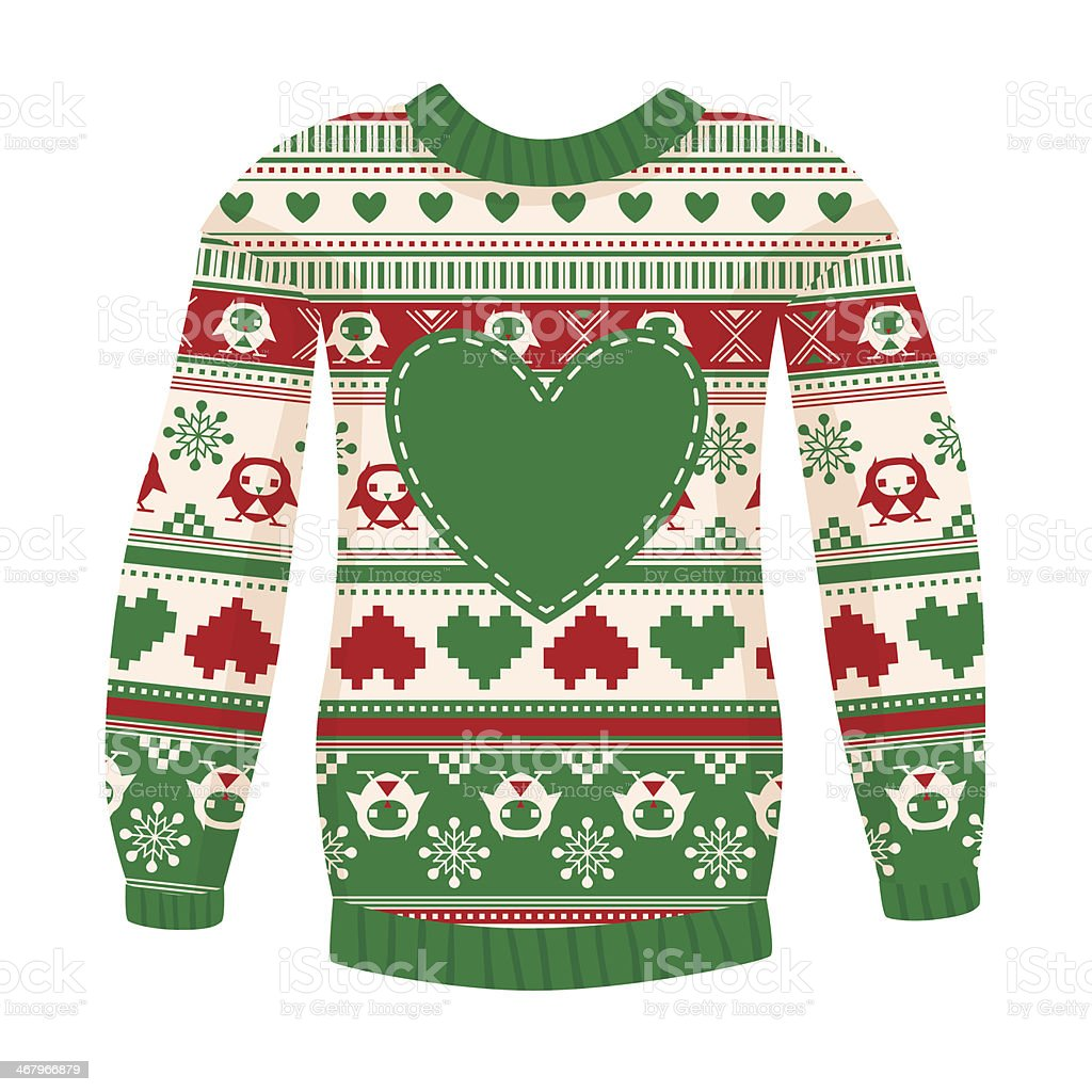 Illustration of warm sweater with owls and hearts. vector art illustration