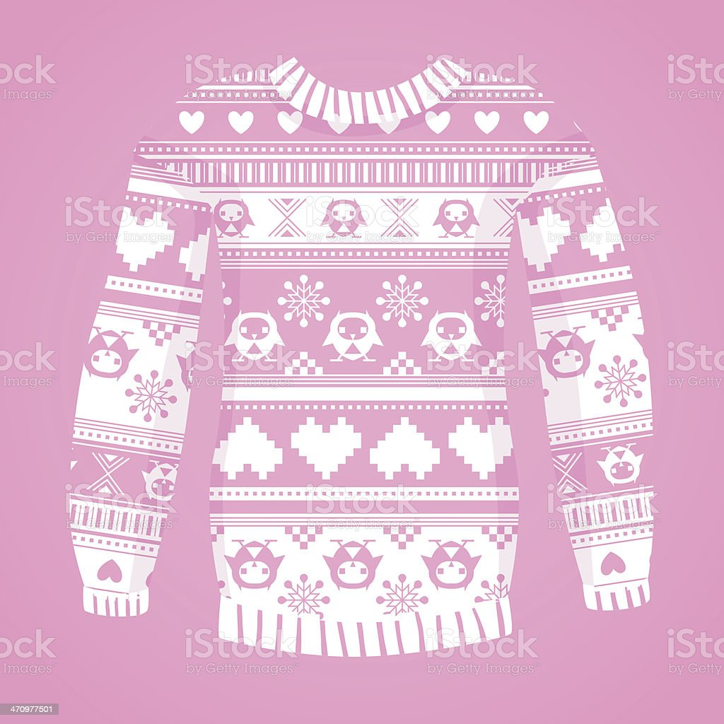 Illustration of warm sweater with owls and hearts. White version royalty-free stock vector art