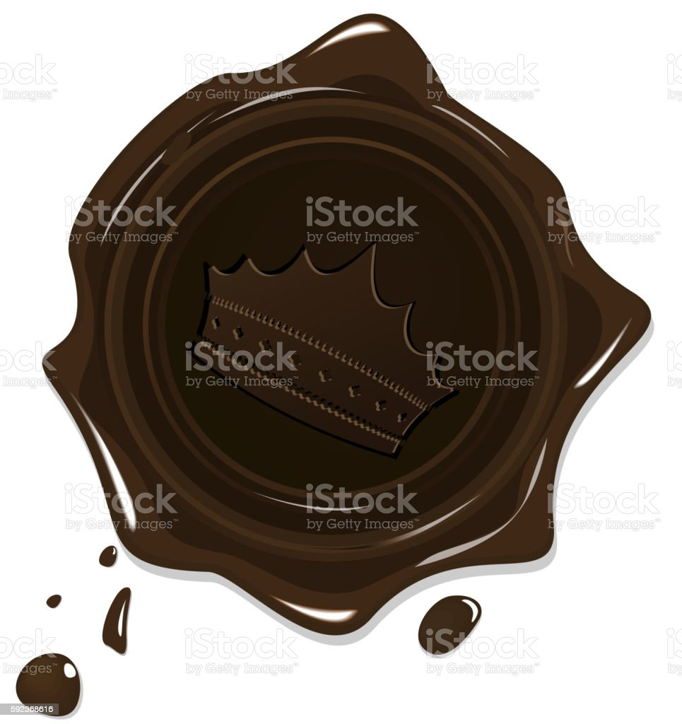 Illustration of wax grunge brown seal with crown vector art illustration
