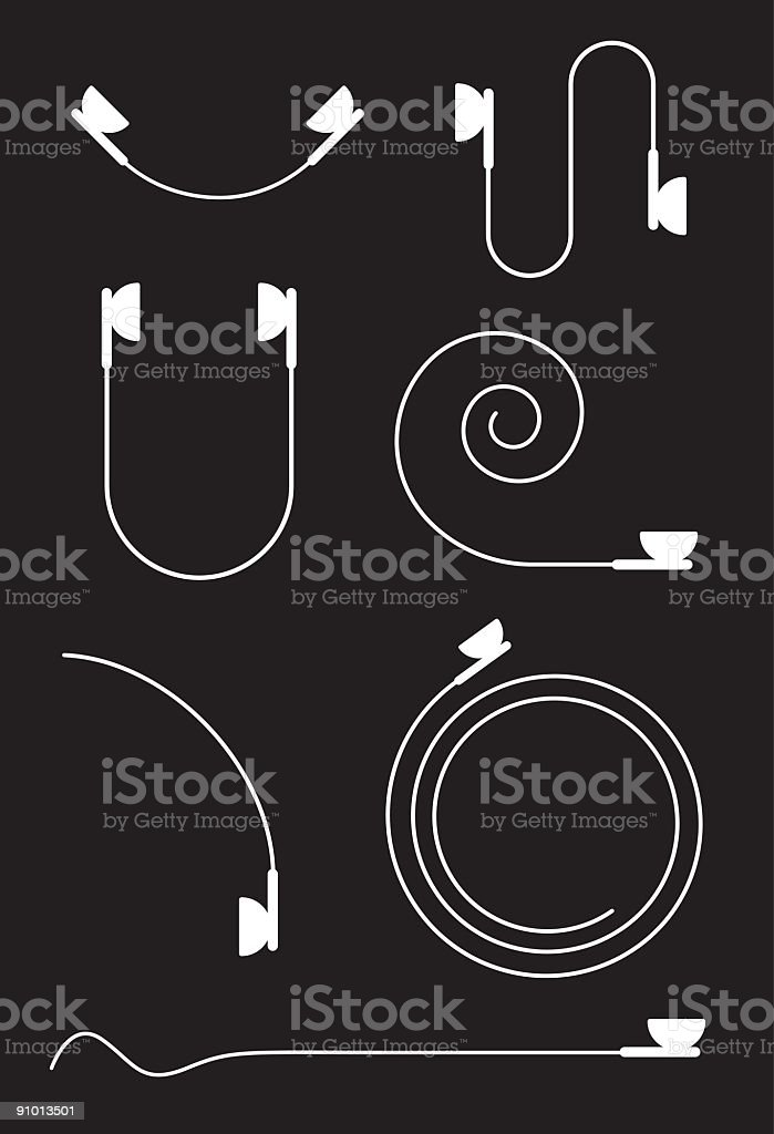 Illustration of white earbuds in various positions vector art illustration