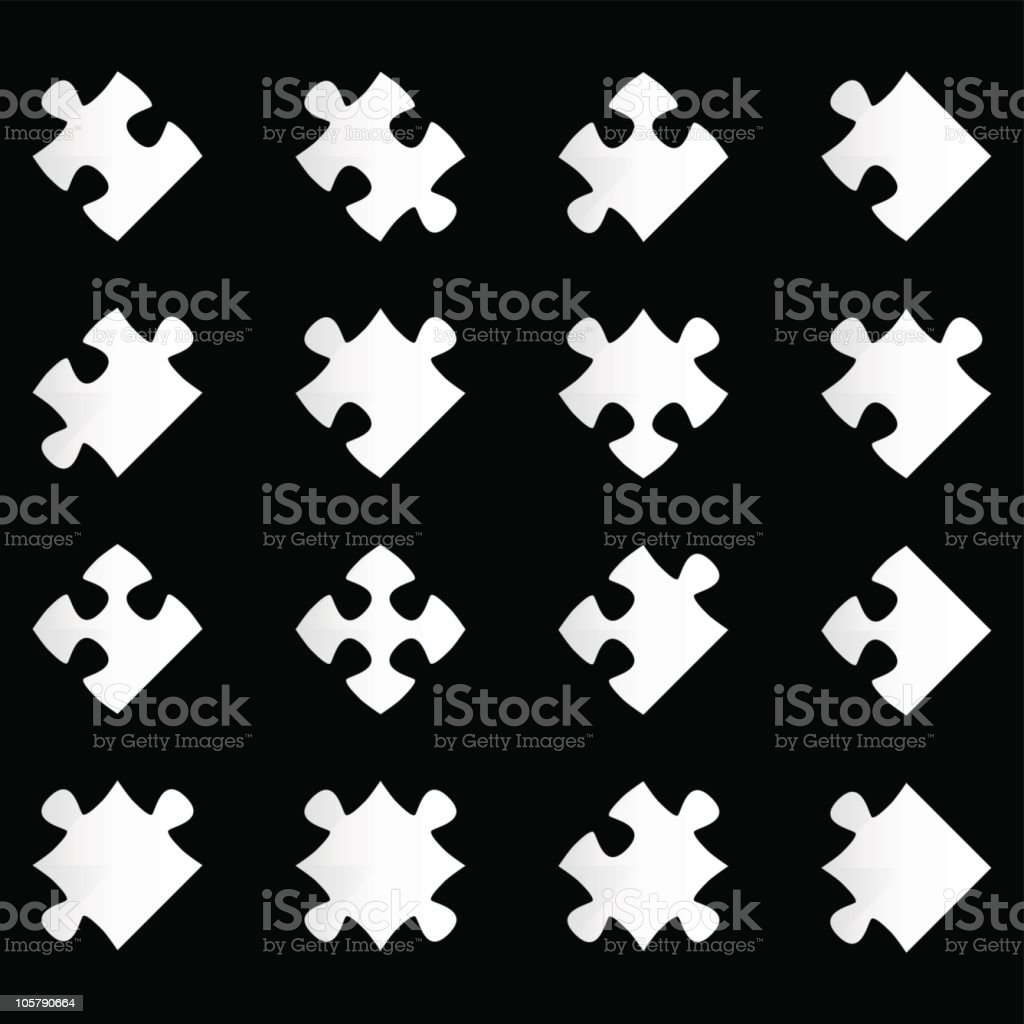 Illustration of white jigsaw pieces on black background royalty-free stock vector art