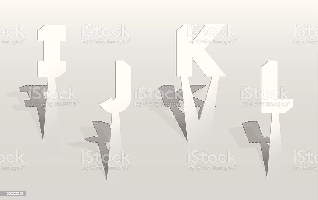 Illustration of white paper letters royalty-free stock vector art