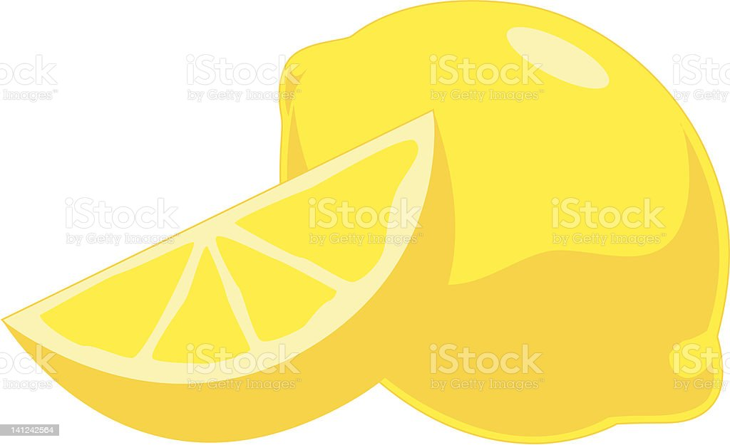 Illustration of whole yellow lemon and lemon slice royalty-free stock vector art