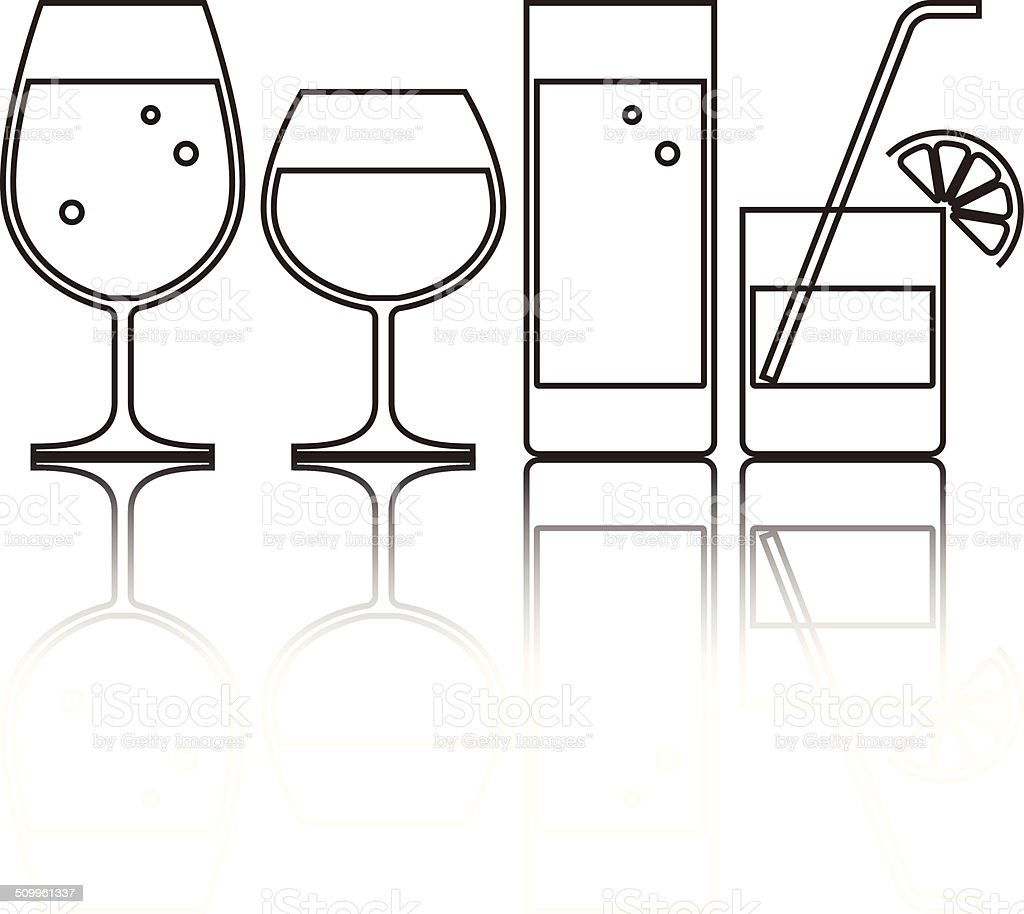 Illustration of Wine, Beer, Cocktail and Water Glasses vector art illustration