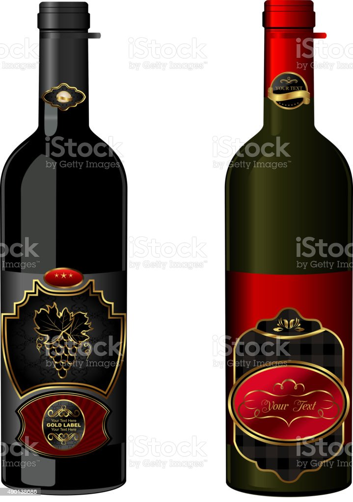 Illustration of wine bottles with attached vintage labels vector art illustration