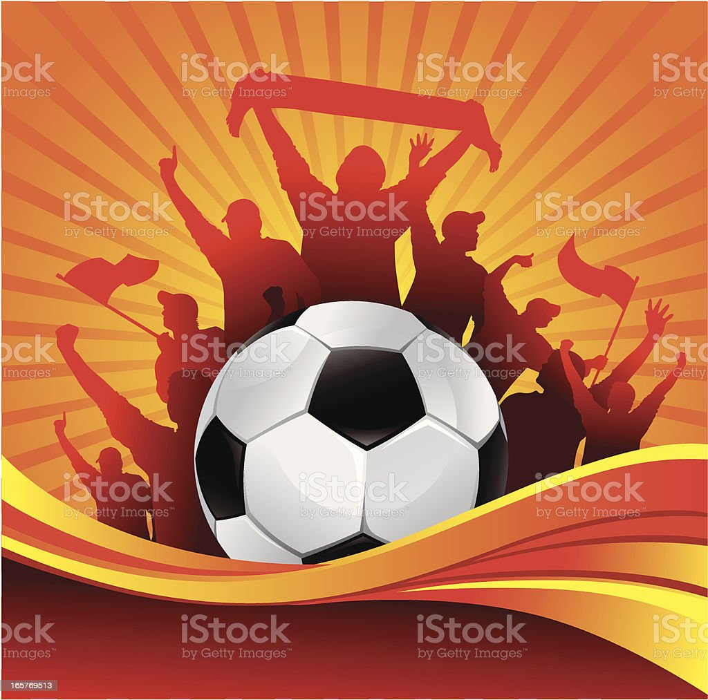 Illustration of winners celebrating with a soccer ball royalty-free stock vector art