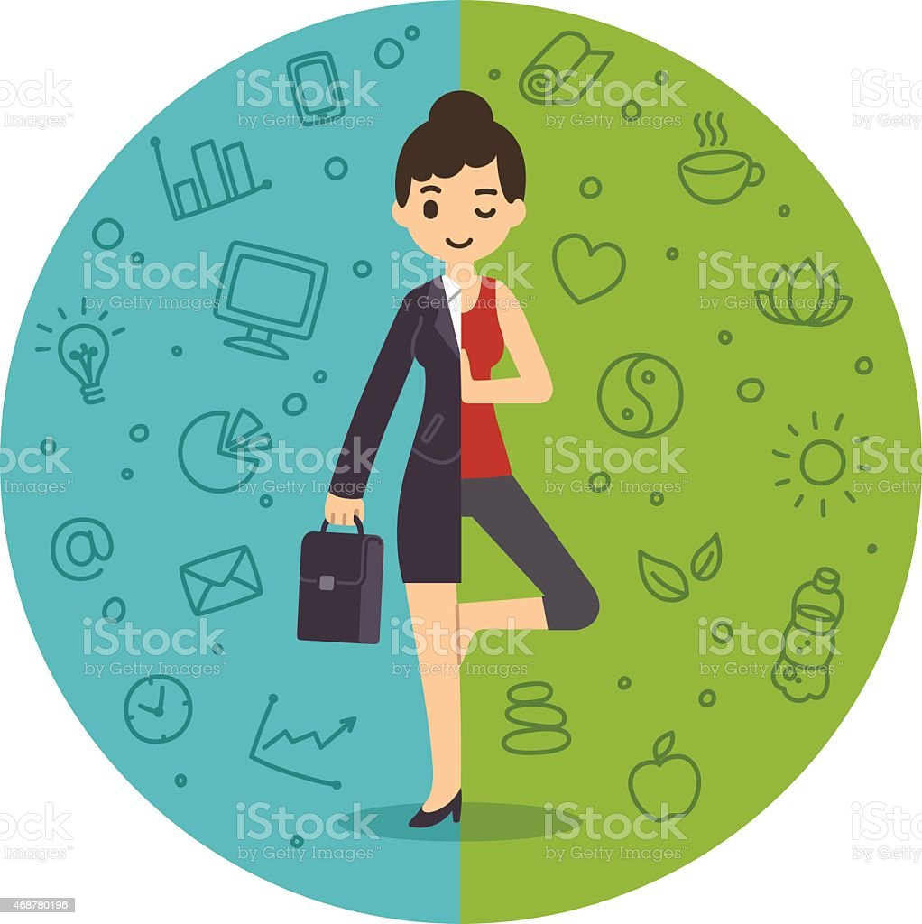 Illustration of woman balancing work and life vector art illustration