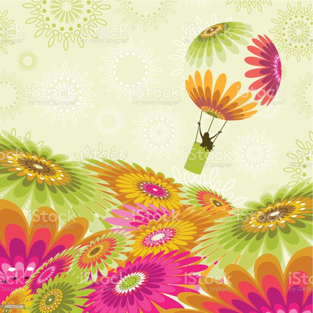 Illustration of woman flying in hot air balloon over flowers royalty-free stock vector art
