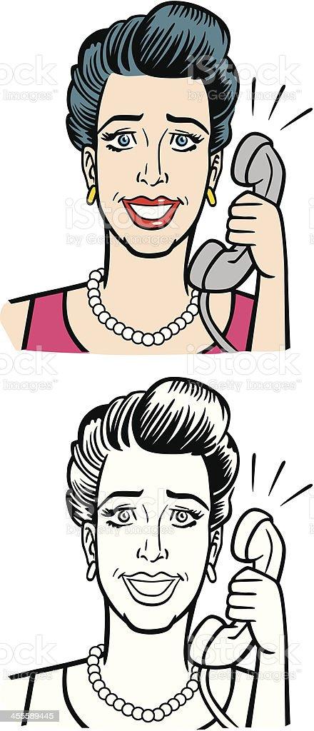 Illustration of Woman On Phone vector art illustration