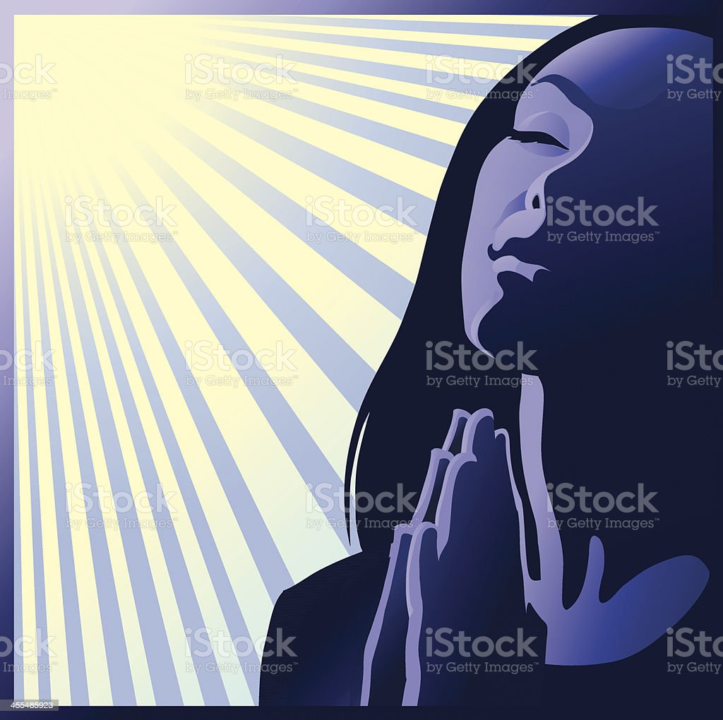 Illustration of woman praying with the sun shining down  royalty-free stock vector art