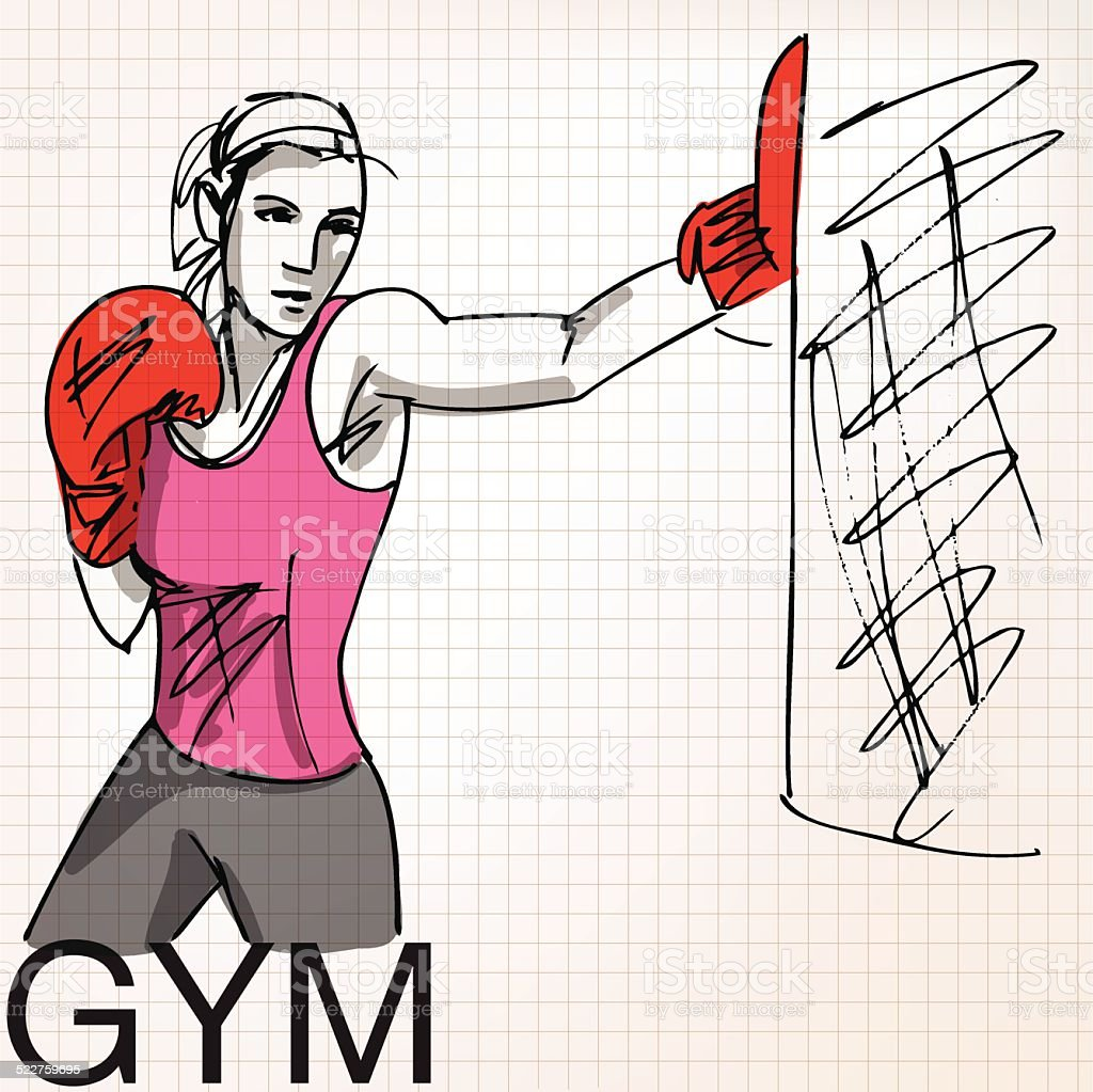 Illustration of woman with boxing gloves at workout, at gym vector art illustration