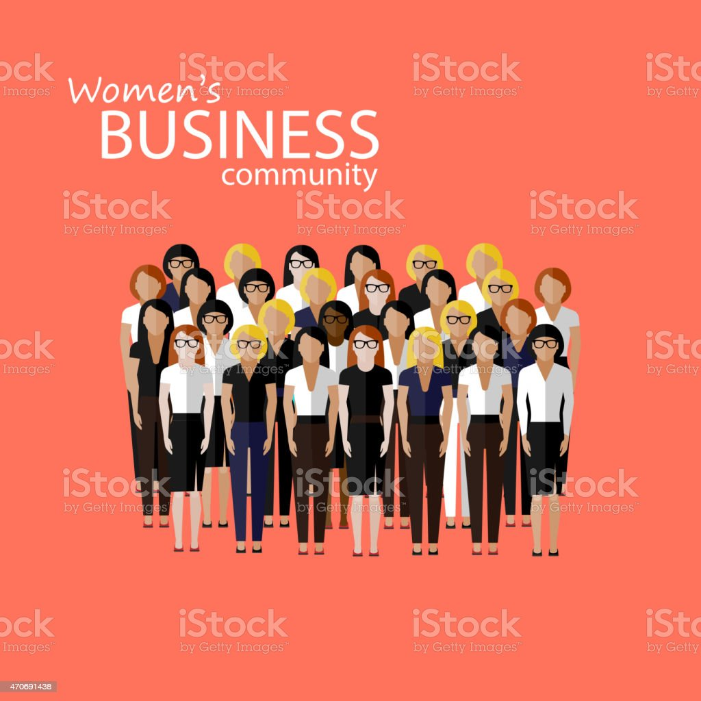 illustration of women business community vector art illustration