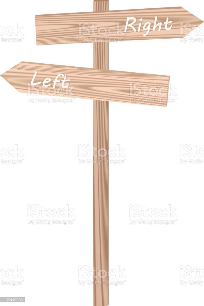 Illustration of wood traffic sign vector art illustration