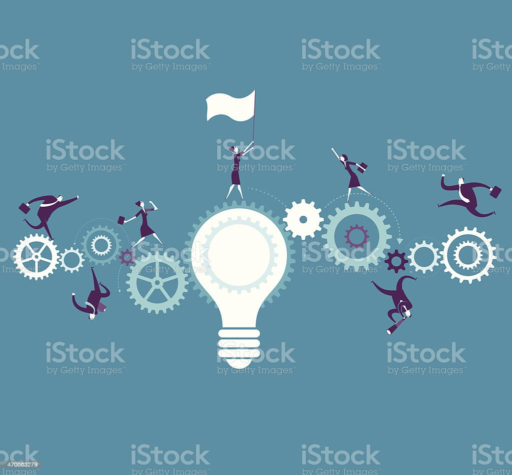 Illustration of workable idea with bulb and cogs vector art illustration