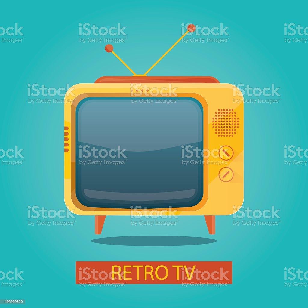 illustration of yellow retro tv on colorful background vector art illustration