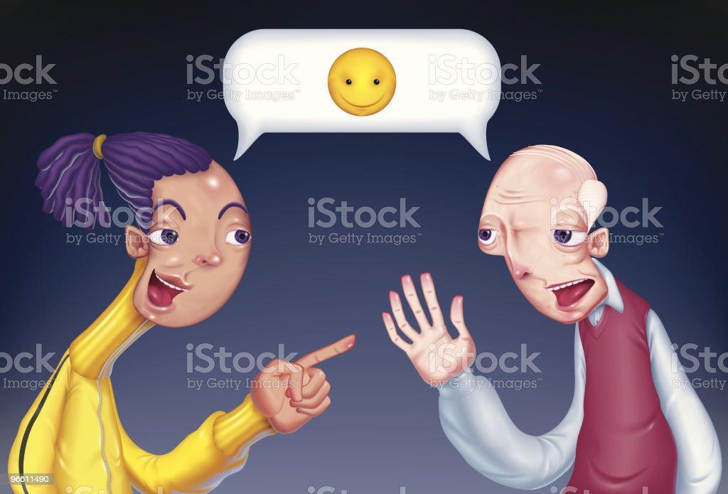 Illustration of Young Person Talking to Senior Man vector art illustration