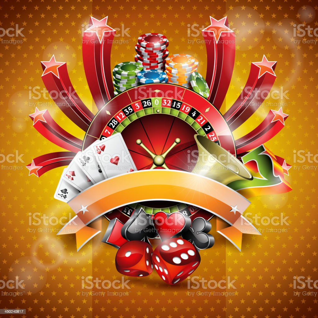 Illustration on a casino theme with roulette wheel and ribbon. royalty-free stock vector art