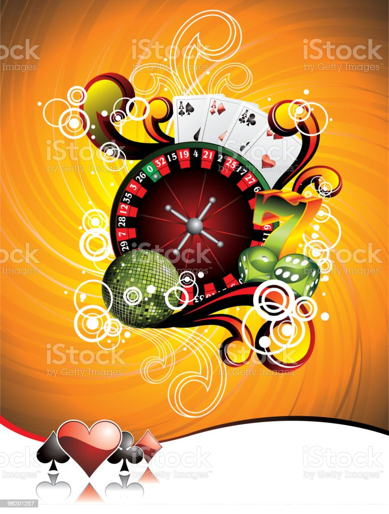 Illustration on a casino theme with roulette wheel. royalty-free stock vector art