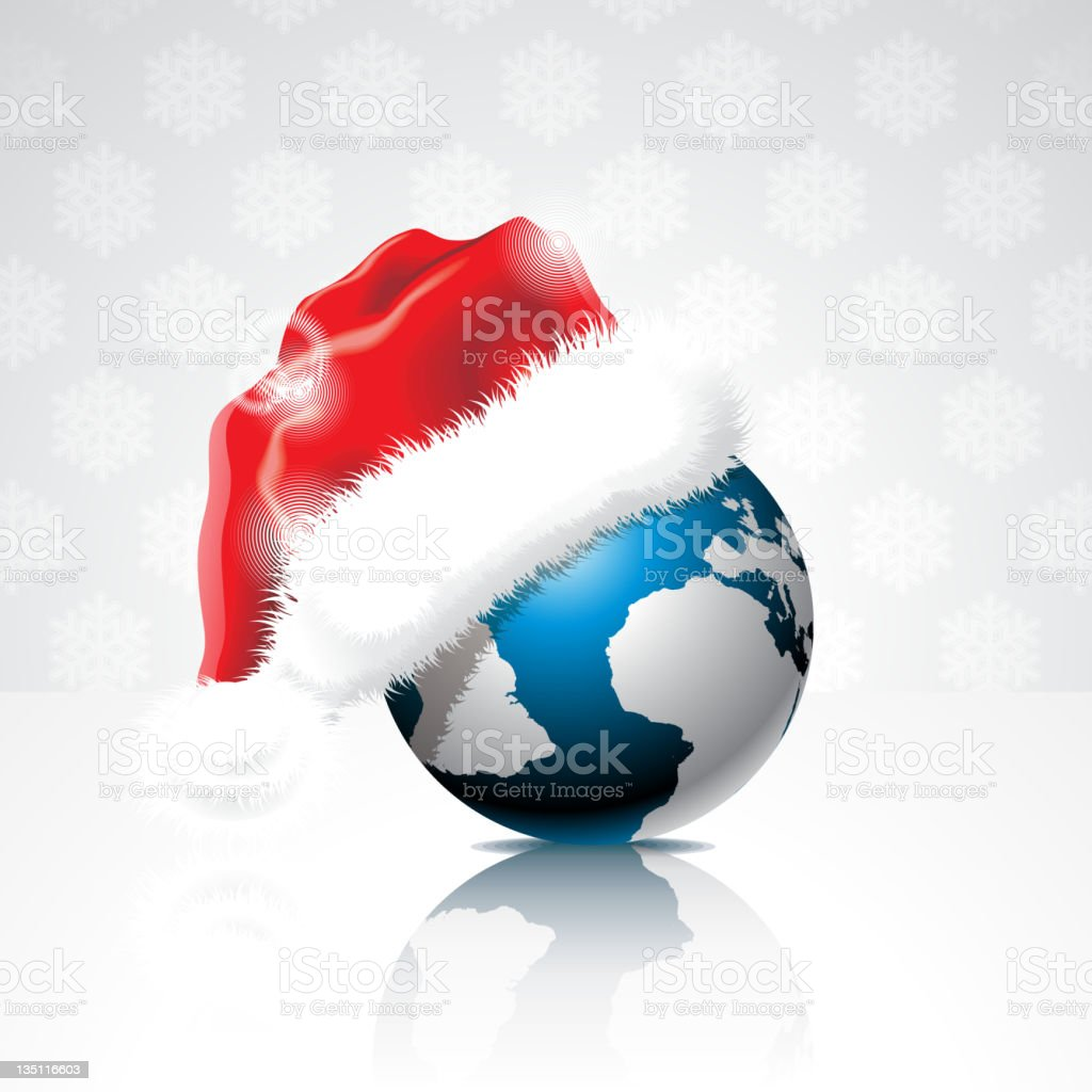 Illustration on a Christmas theme with globe. royalty-free stock vector art