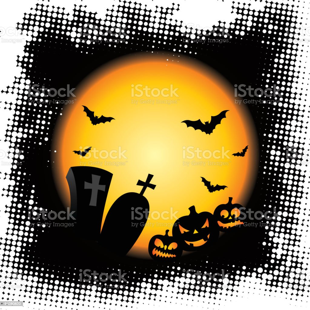 Illustration on a Halloween theme with pumpkins. royalty-free stock vector art