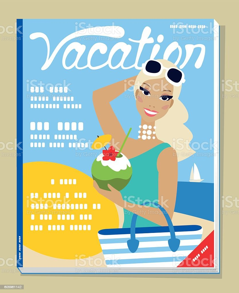 Illustration on a magazine cover of a woman on vacations vector art illustration