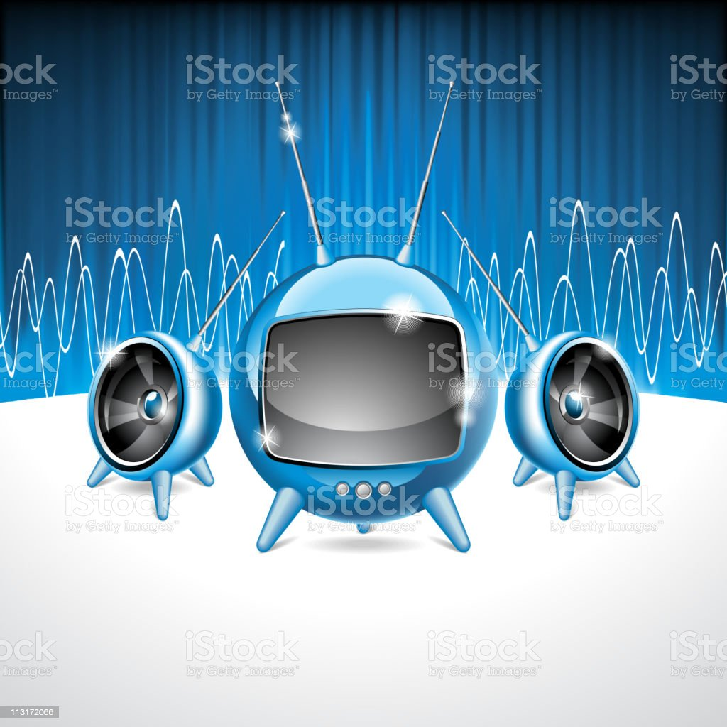 Illustration on a media and musical theme with futuristic tv. royalty-free stock vector art
