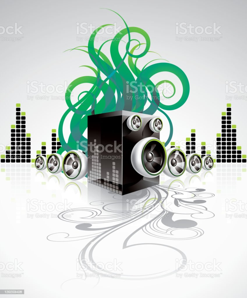 Illustration on a musical theme with speakers. royalty-free stock vector art
